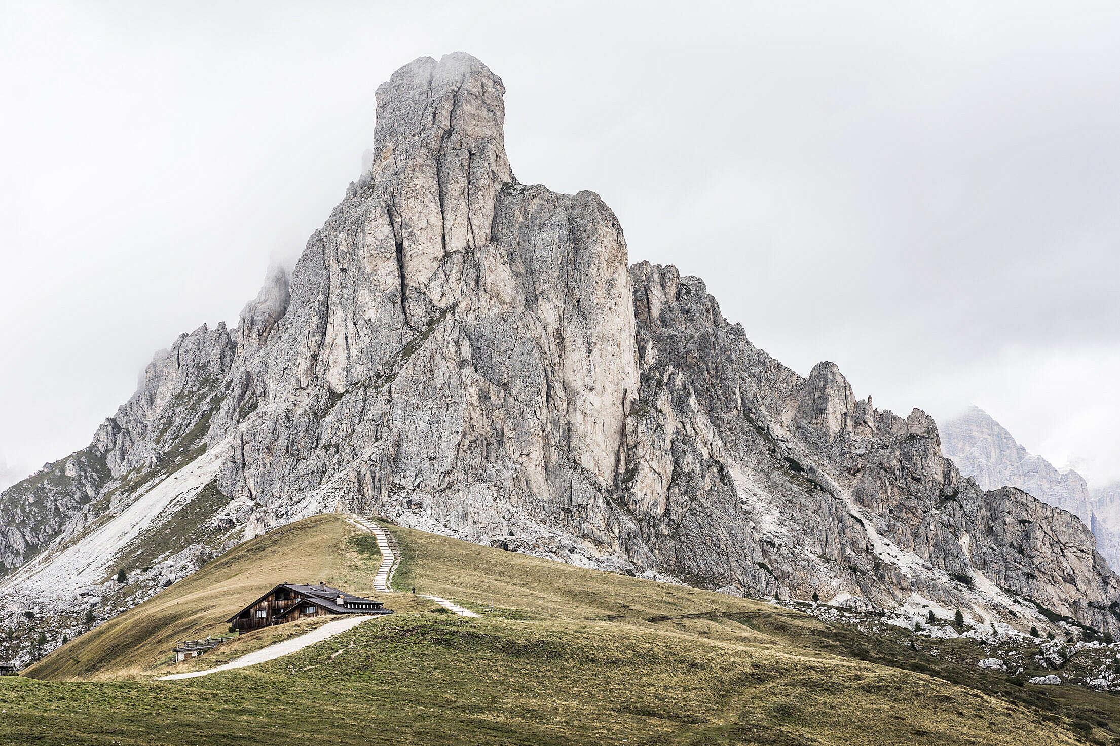 Giau Pass Mountain La Gusela Peak, Dolomites, Italy Free Stock Photo