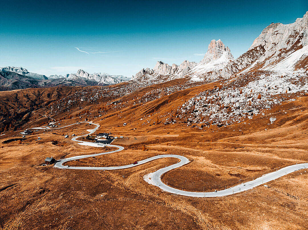 Download Giau Pass Mountain Road in Italy FREE Stock Photo