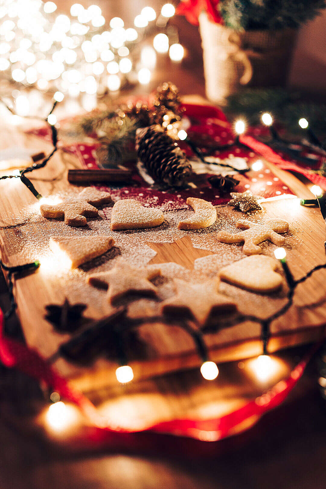 Download Gingerbread Biscuits on Christmas Evening FREE Stock Photo