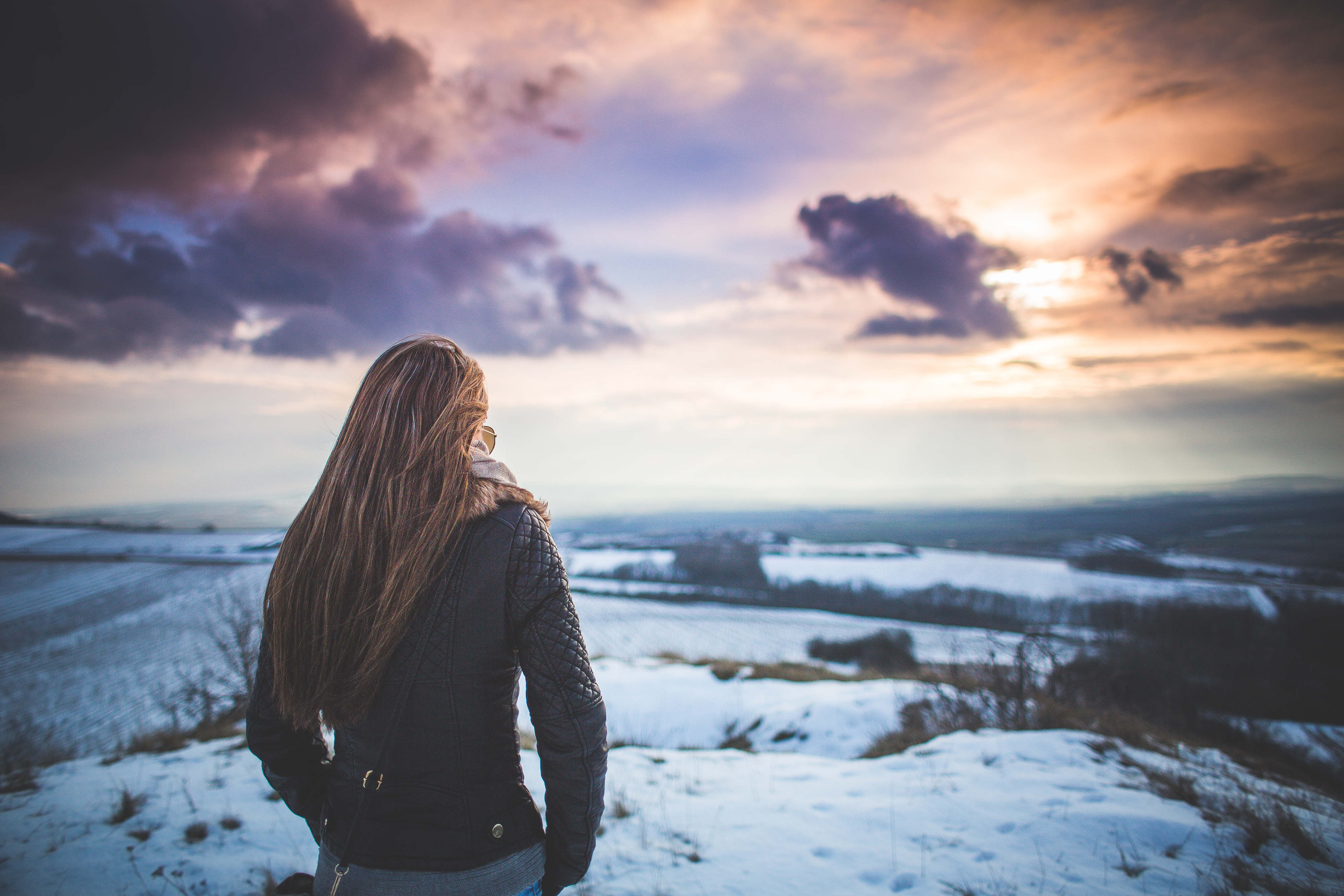 Download Girl and Fantasy Sky Scenery #1 FREE Stock Photo