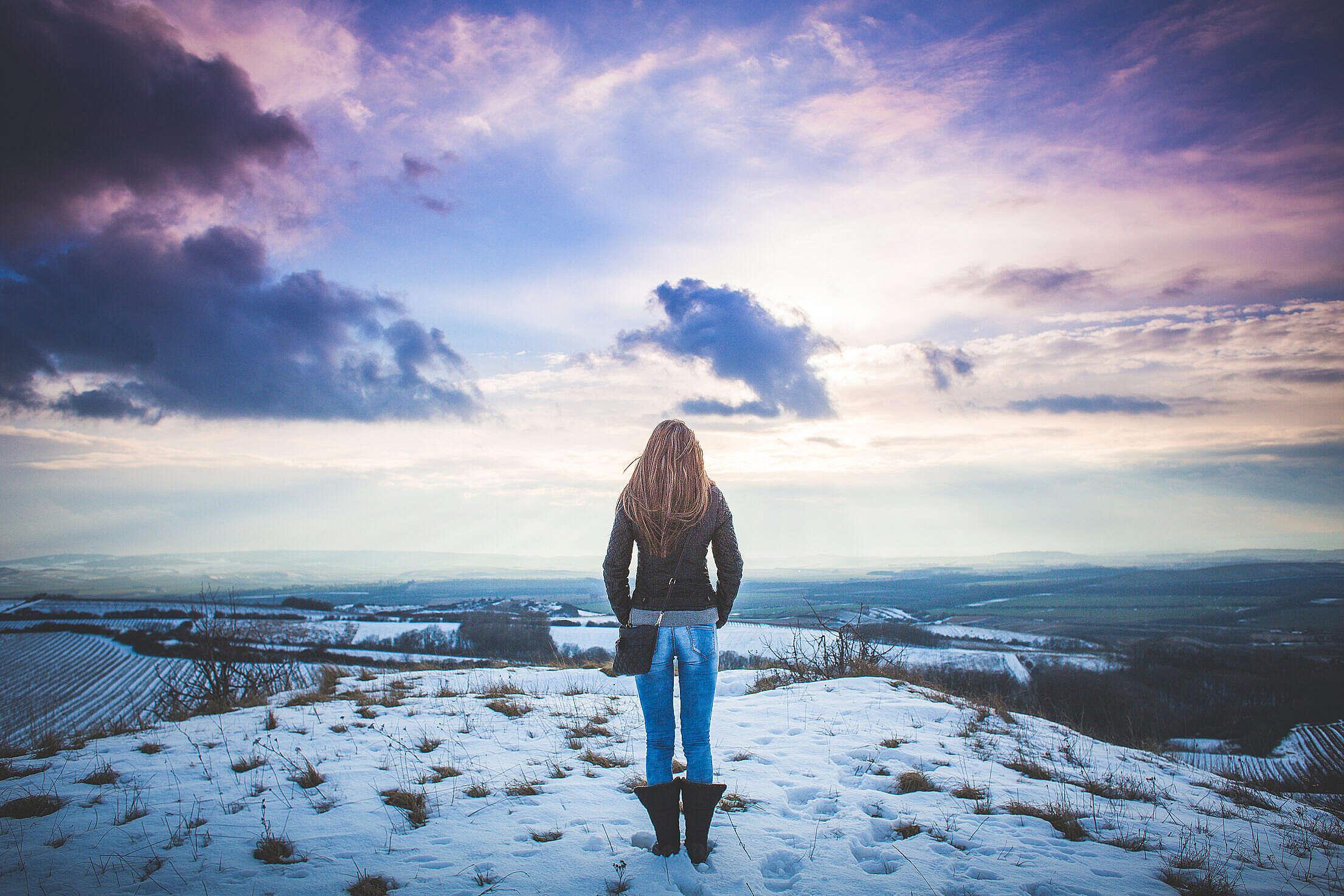 Girl and Fantasy Sky Scenery #2 Free Stock Photo