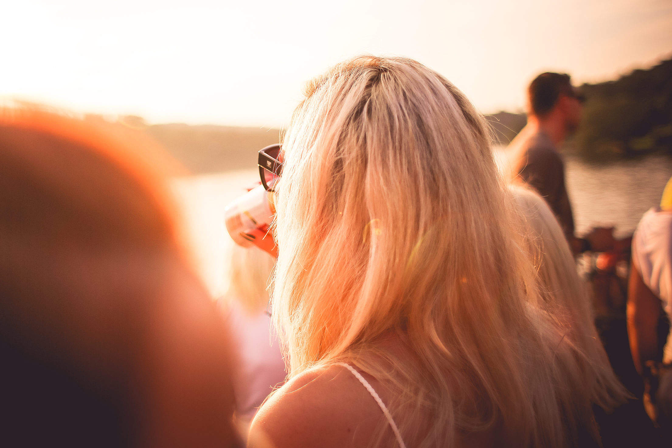 Girl Drinking in Sunlights Free Stock Photo
