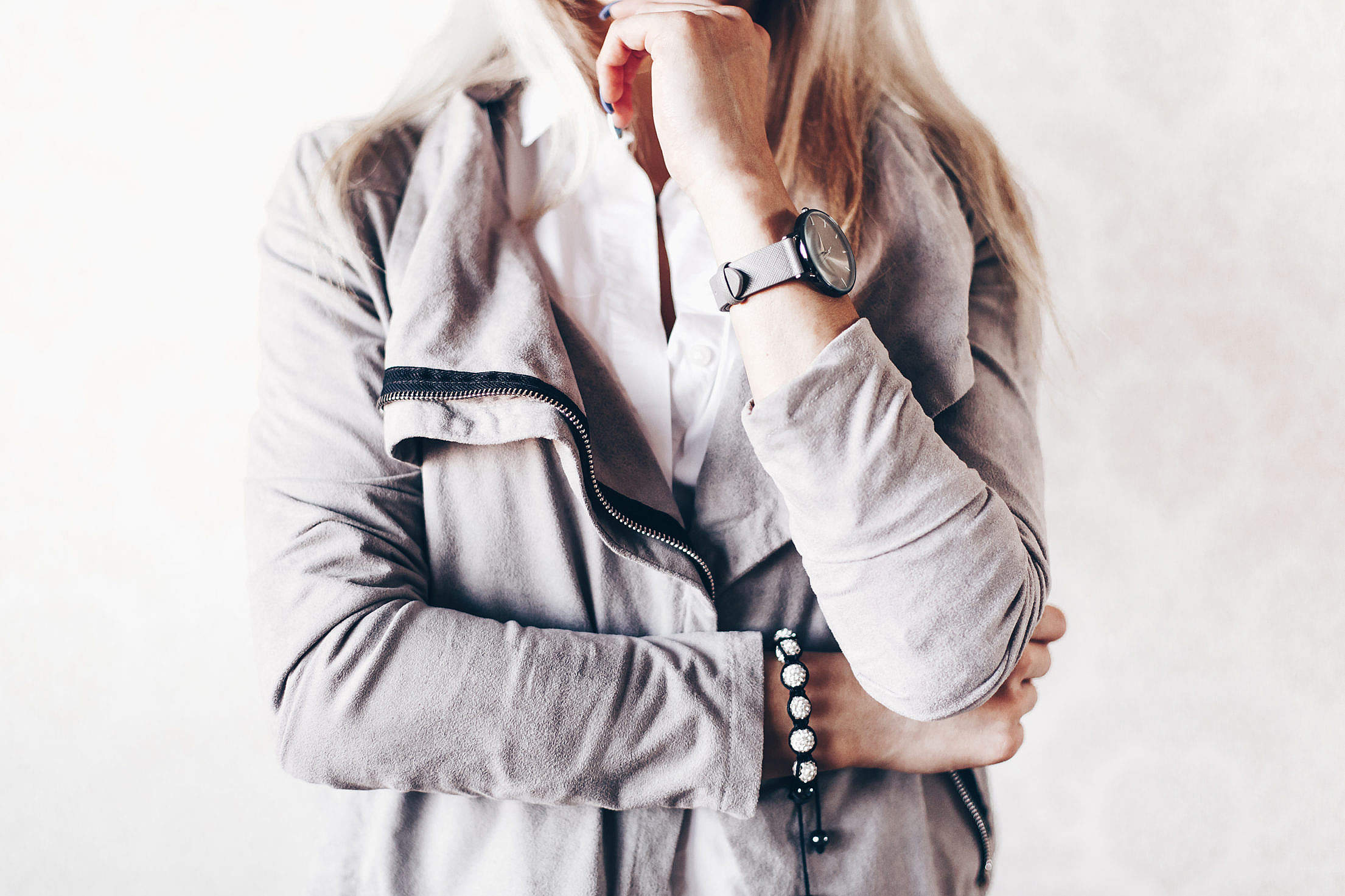 Girl Fashion Pose with Gray Watches and Suede Jacket #2 Free Stock Photo