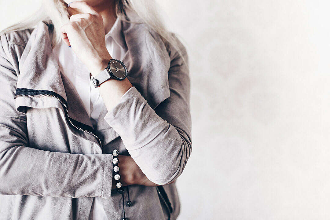 Download Girl Fashion Pose with Gray Watches and Suede Jacket FREE Stock Photo
