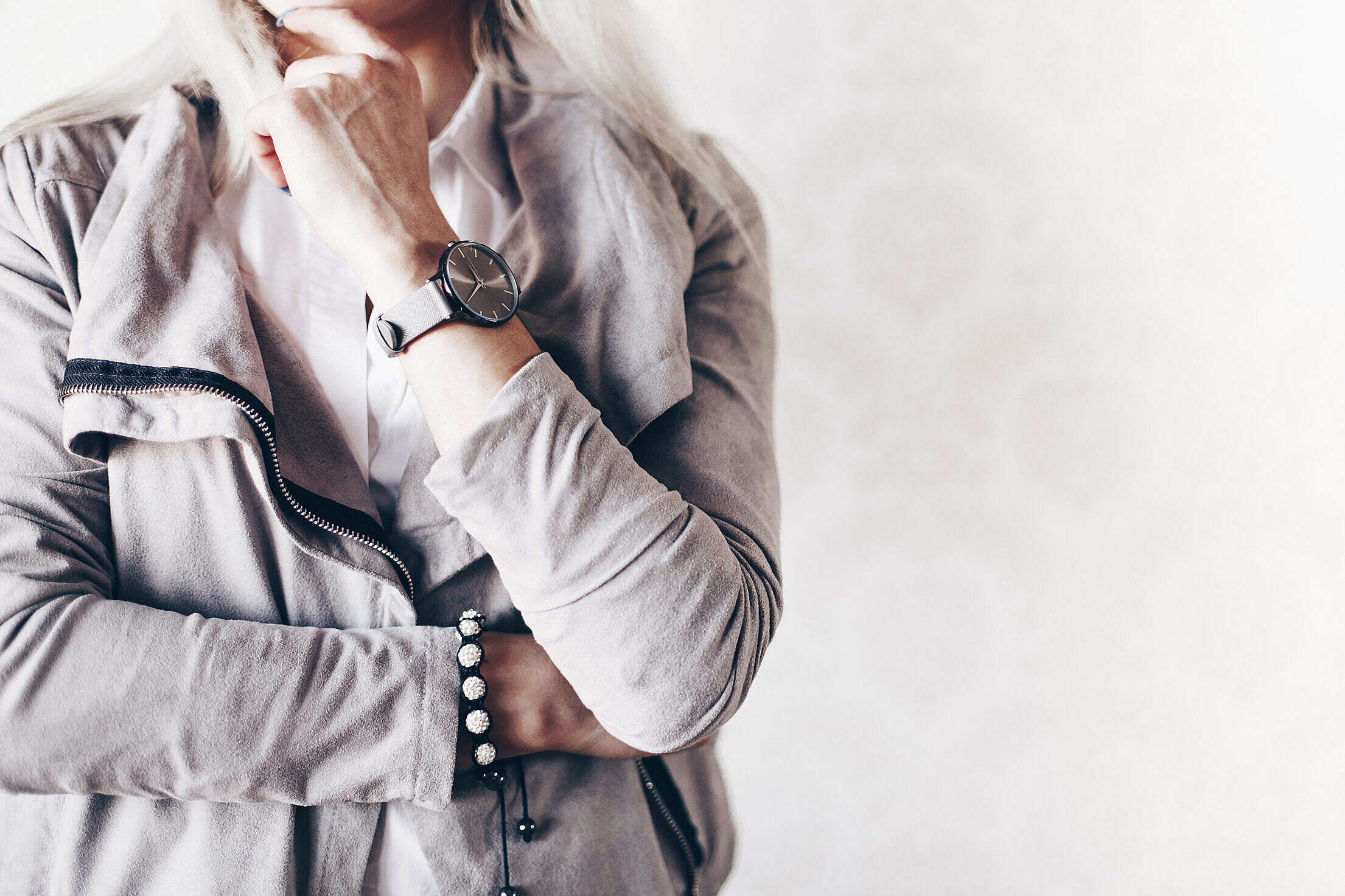 Girl Fashion Pose with Gray Watches and Suede Jacket Free Stock Photo