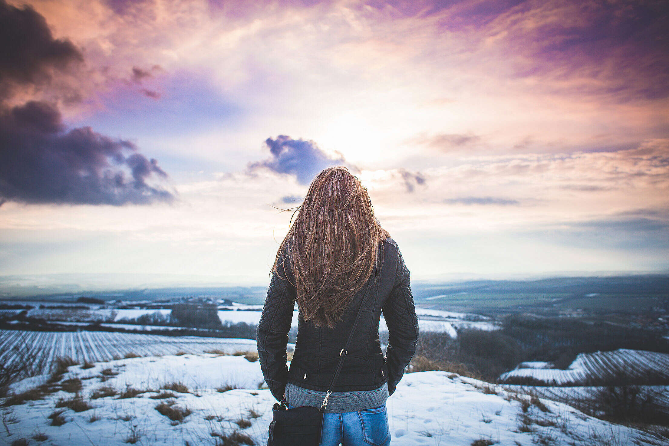 Girl from Behind with Fantasy Sky Free Stock Photo