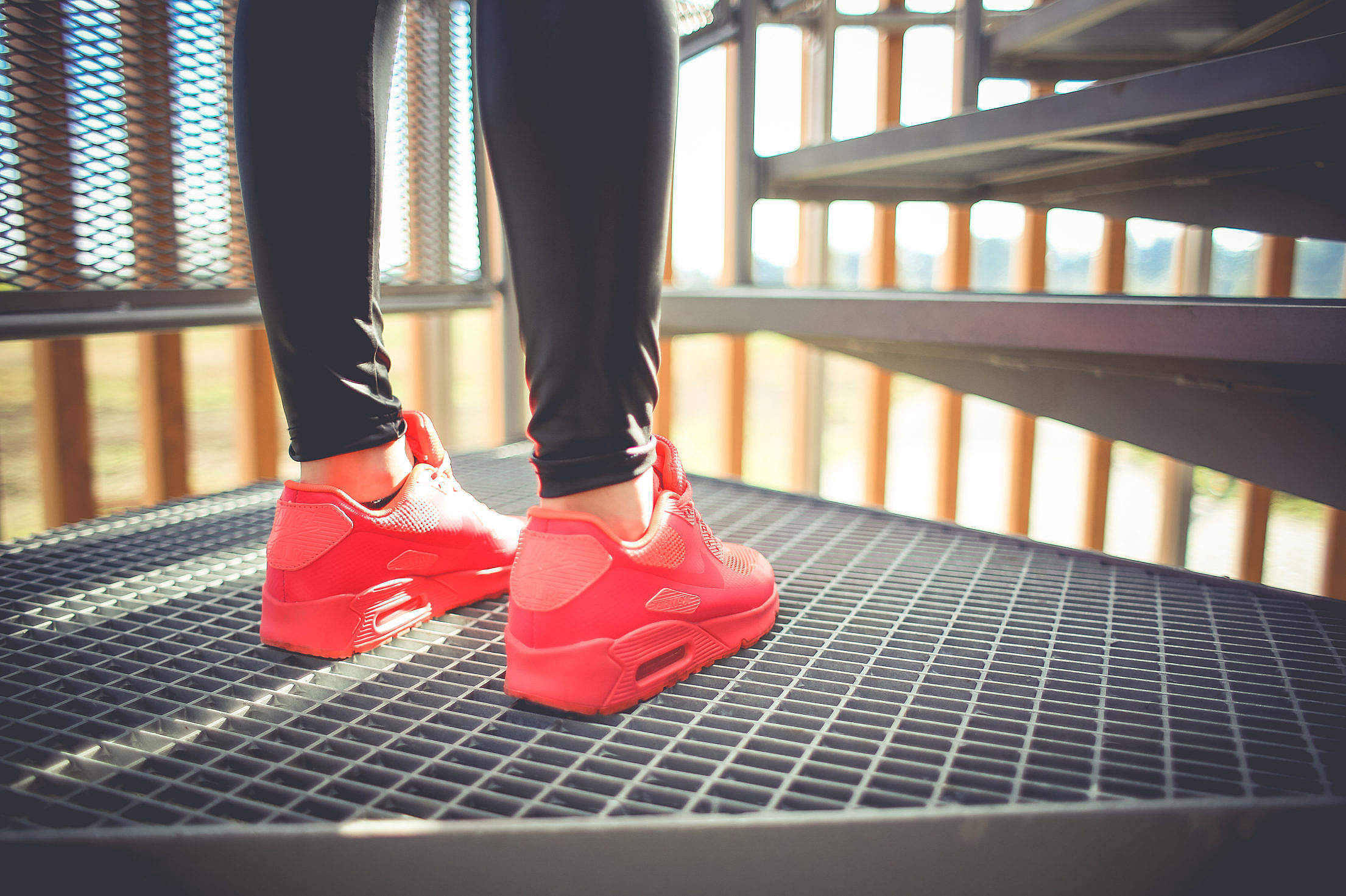 Girl in Pink Running Sport Shoes Free Stock Photo