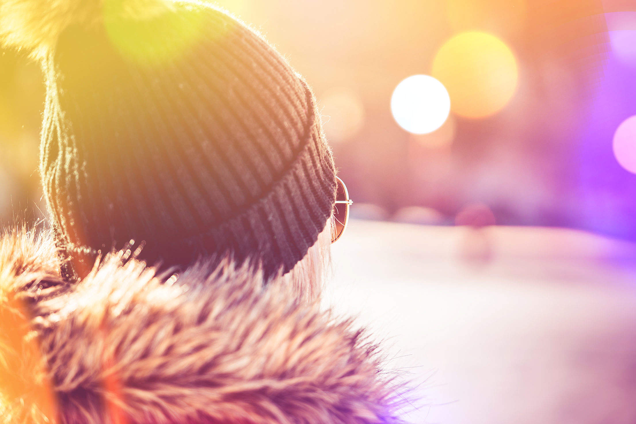 Girl in Winter Hat Crazy Colorful Edit Free Stock Photo