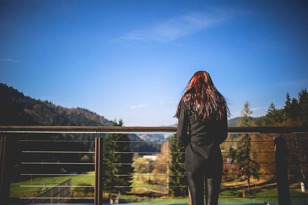 Download Girl Looking At Landscape Nature FREE Stock Photo