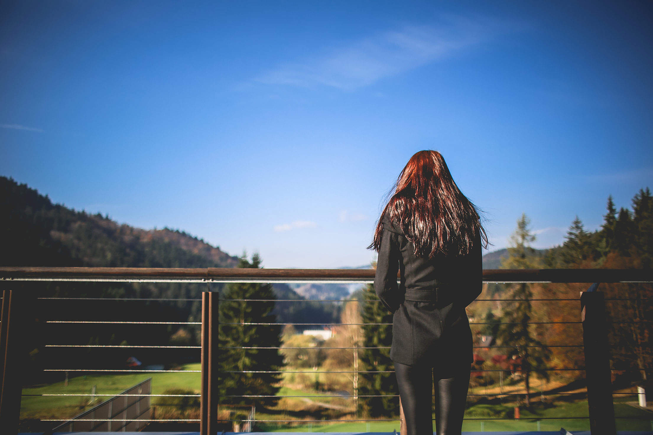 Girl Looking At Landscape Nature Free Stock Photo