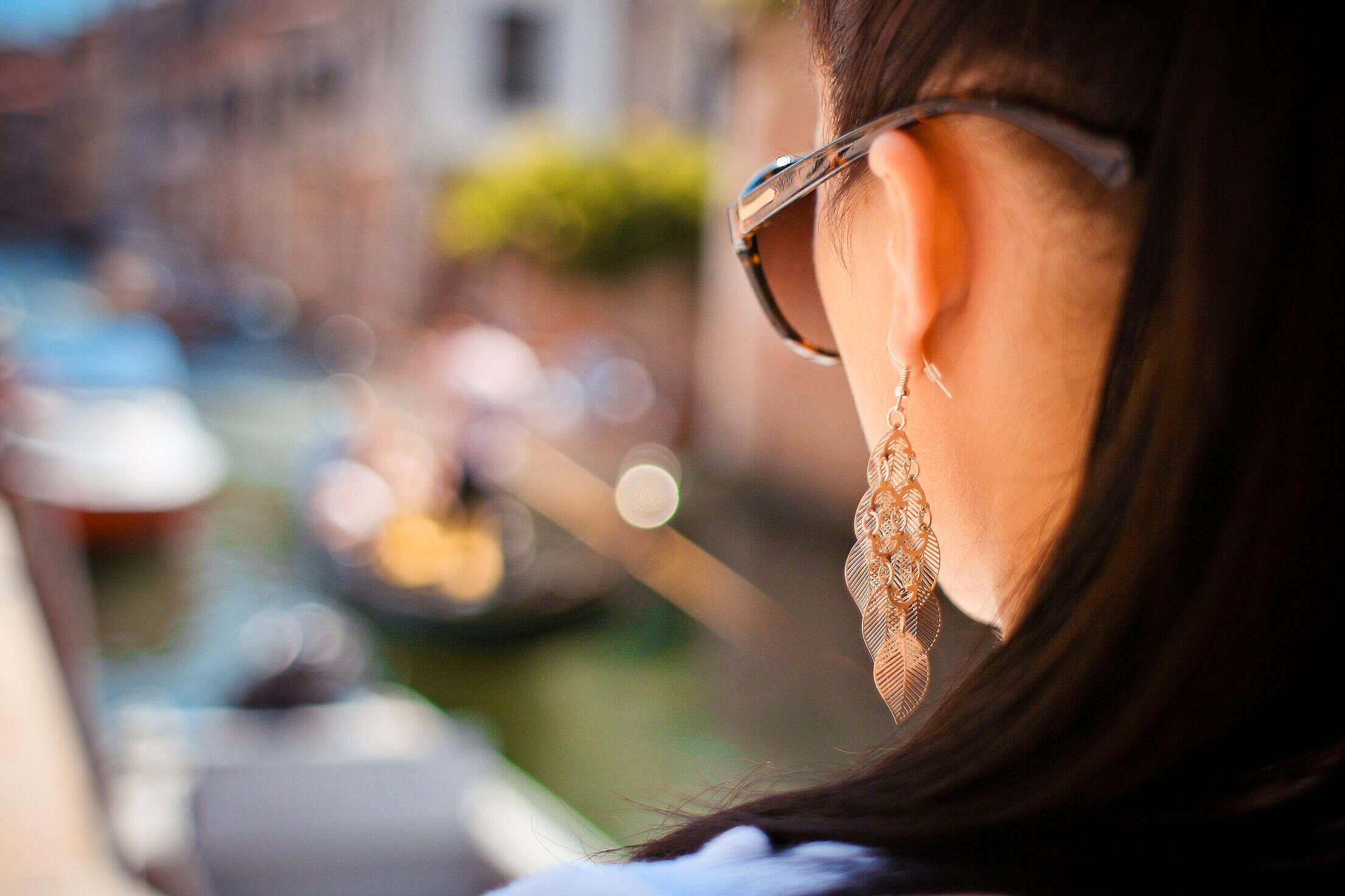 Girl Looking at Venice Gondola Free Stock Photo
