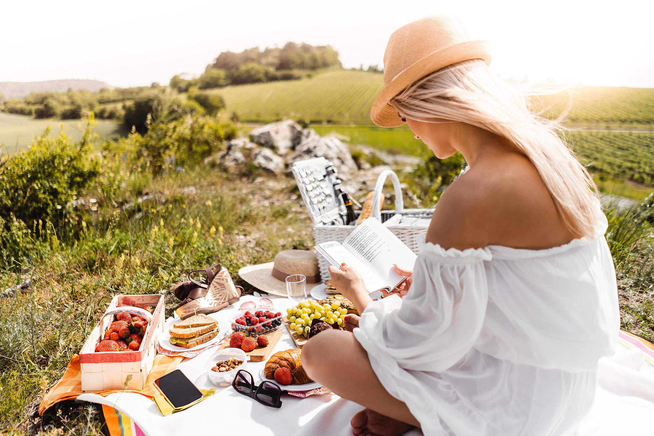 Girl Reading at a Picnic Free Stock Photo