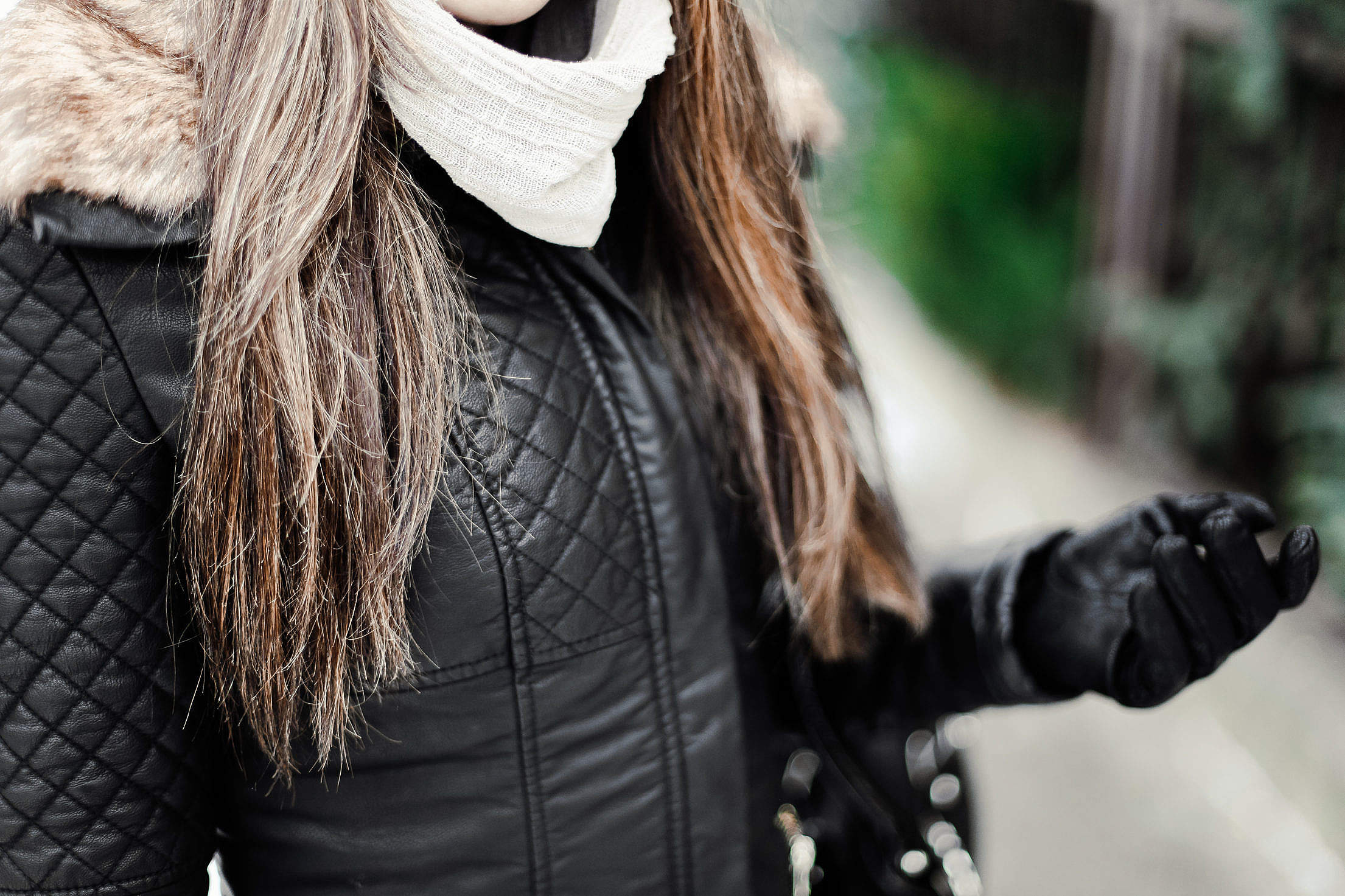 Girl Wearing Leather Jacket Free Stock Photo