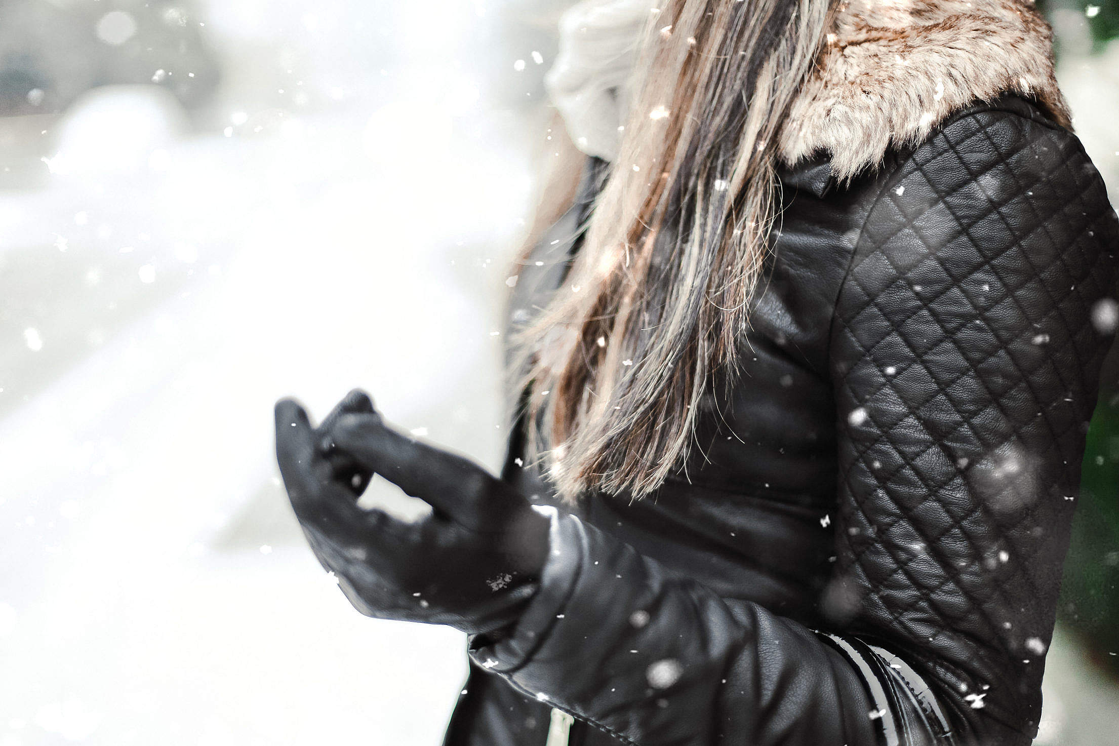 Download Girl with Black Leather Jacket in Winter Free Stock Photo