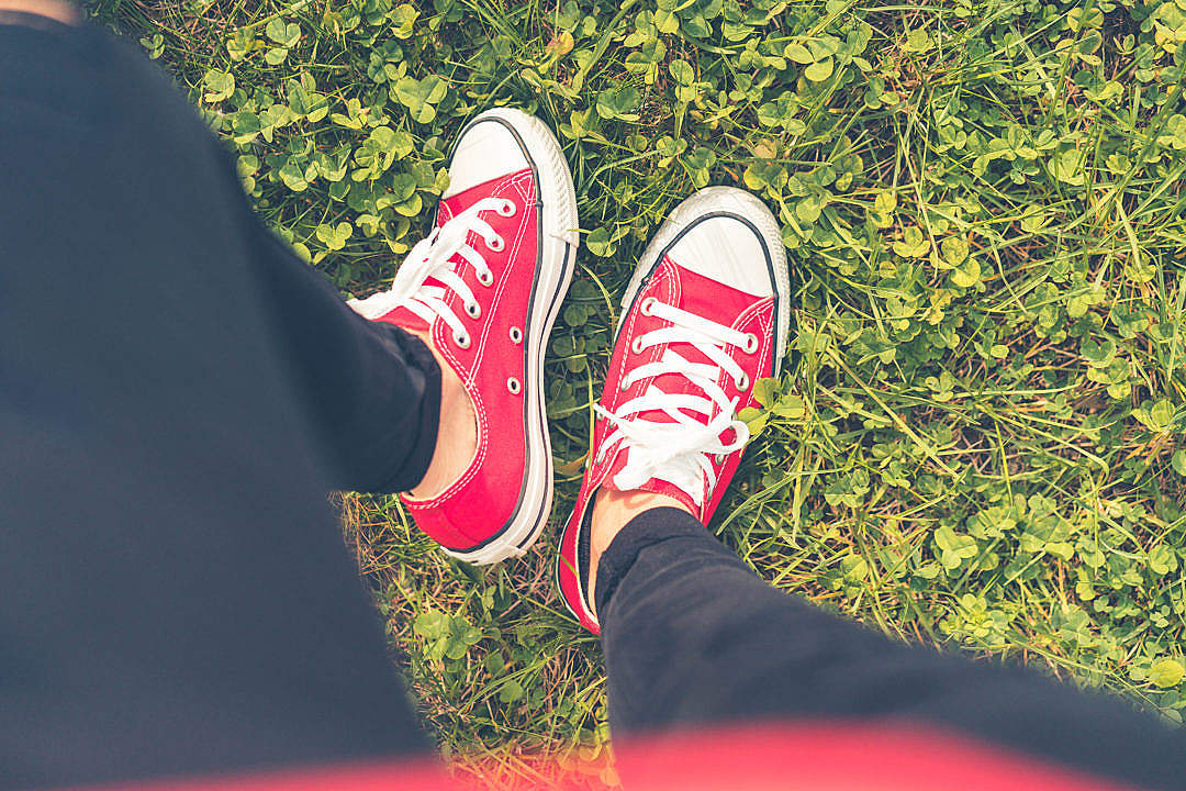 Download Girl with Red Shoes in Grass FPV #2 FREE Stock Photo