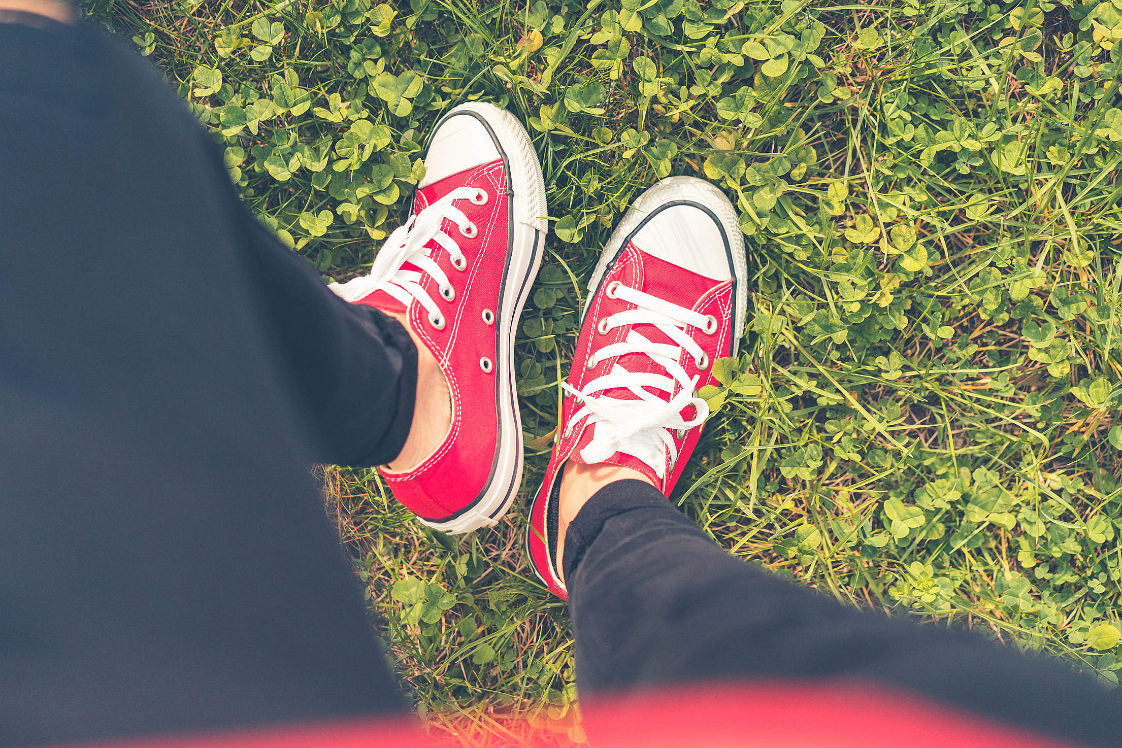 Girl with Red Shoes in Grass FPV #2 Free Stock Photo