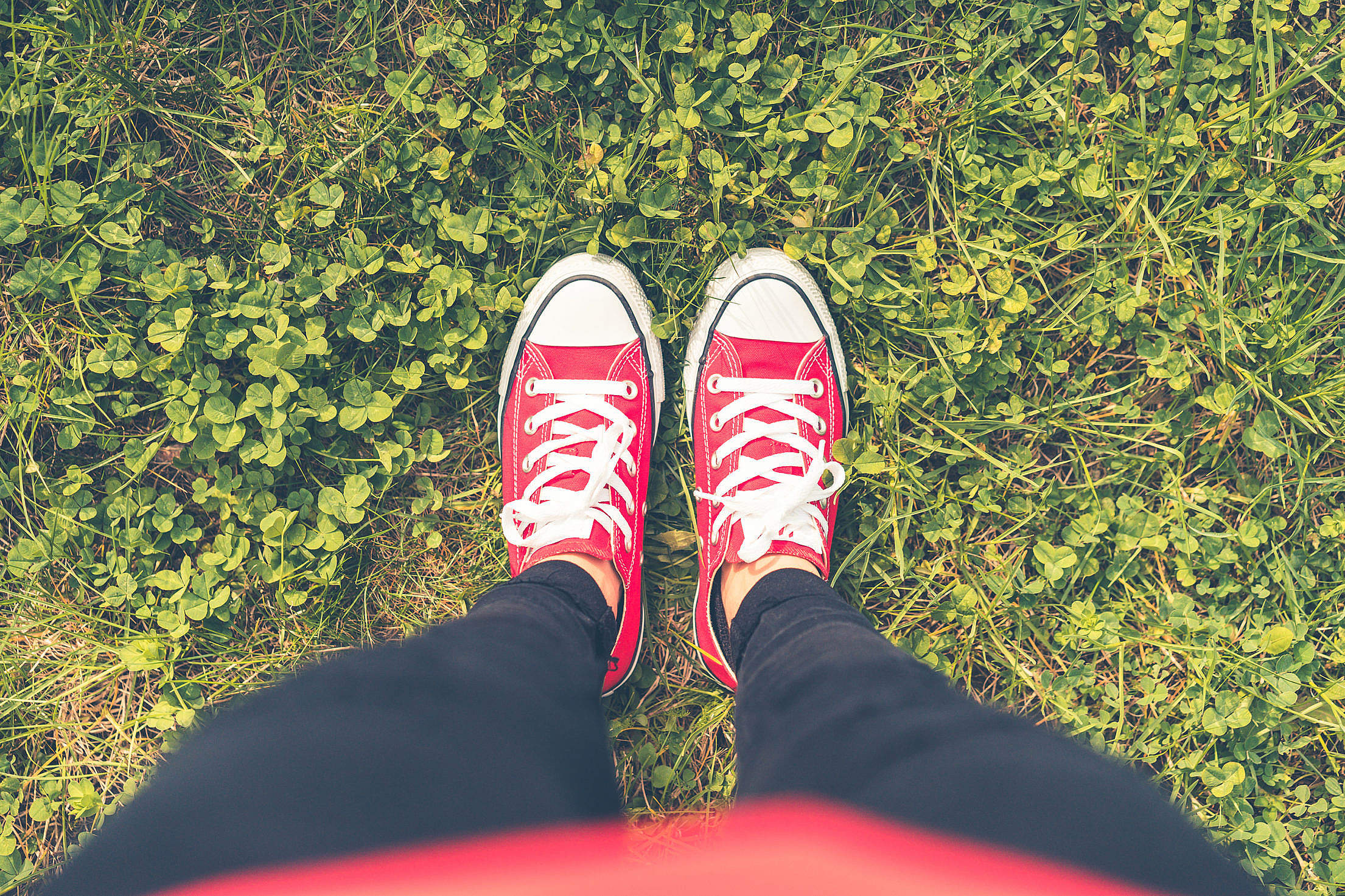 Girl with Red Shoes in Grass FPV Free Stock Photo