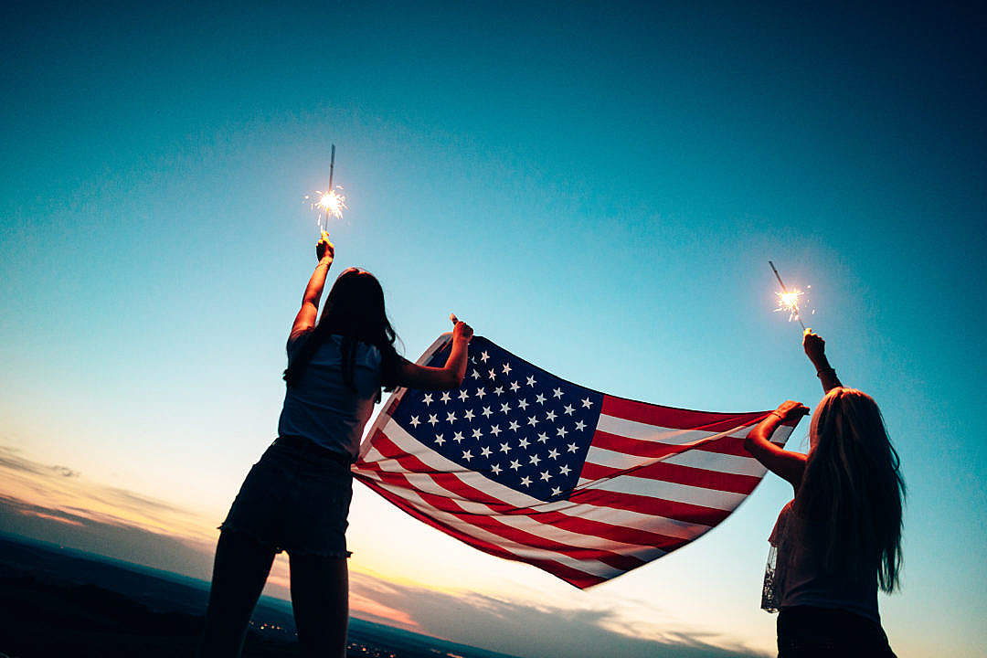 Download Girls Celebrating Independence Day FREE Stock Photo