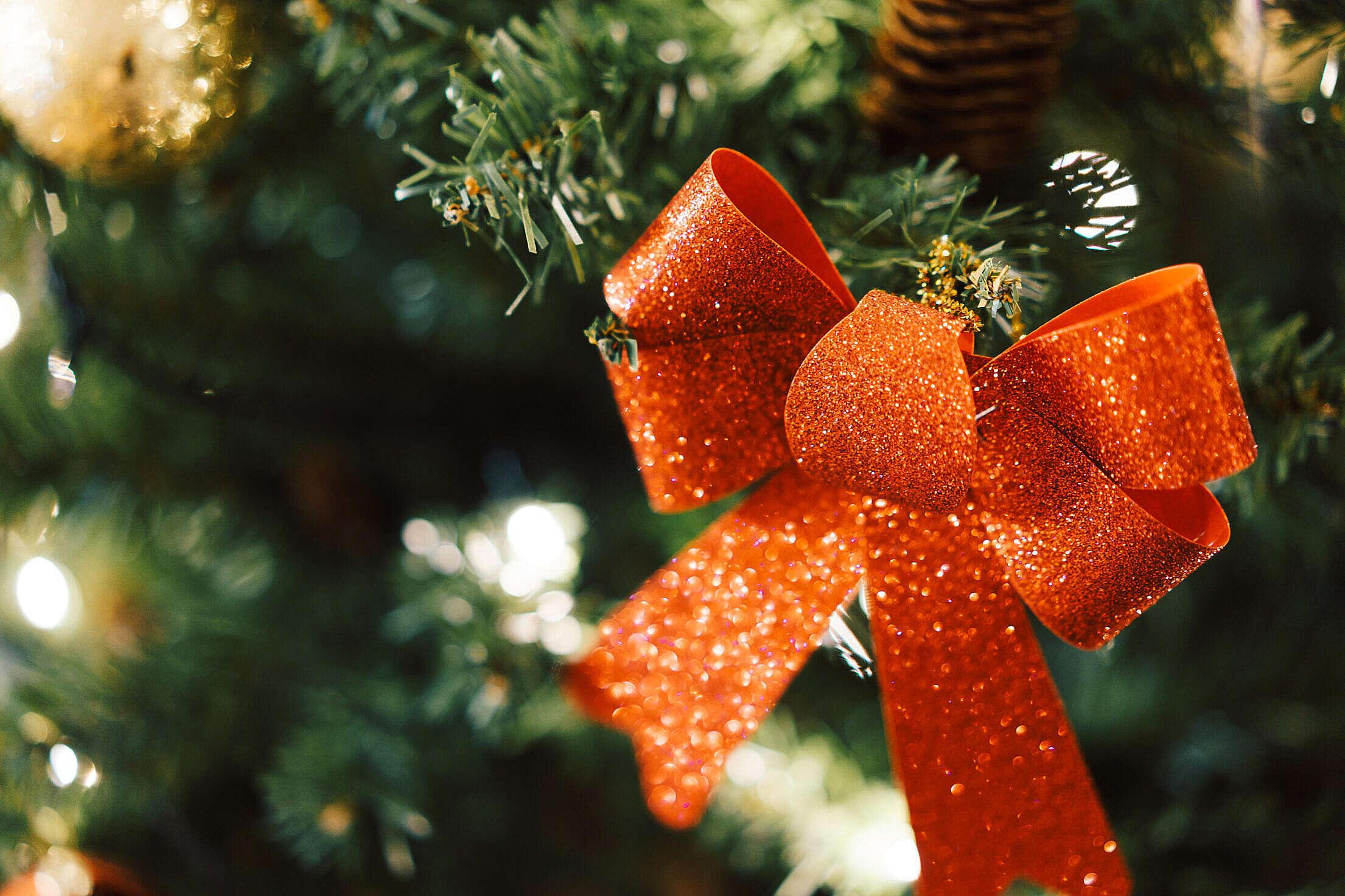 Glittering Christmas Tree Decoration Free Stock Photo