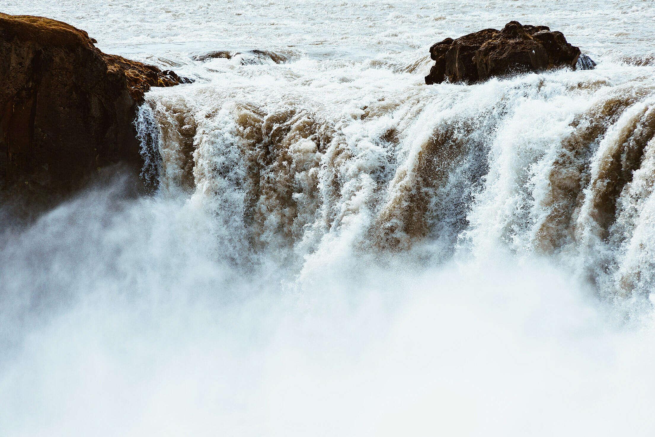 Goðafoss Waterfall Close Up Free Stock Photo