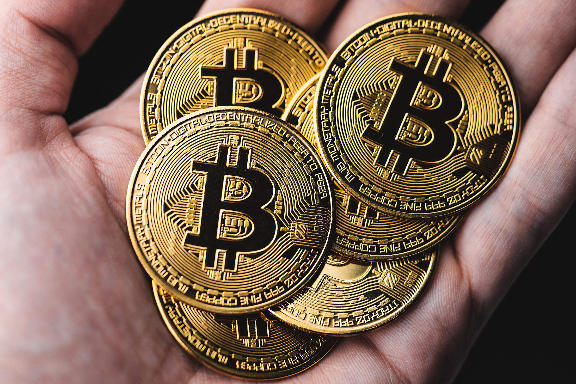 Gold Bitcoins in a Hand Free Stock Photo