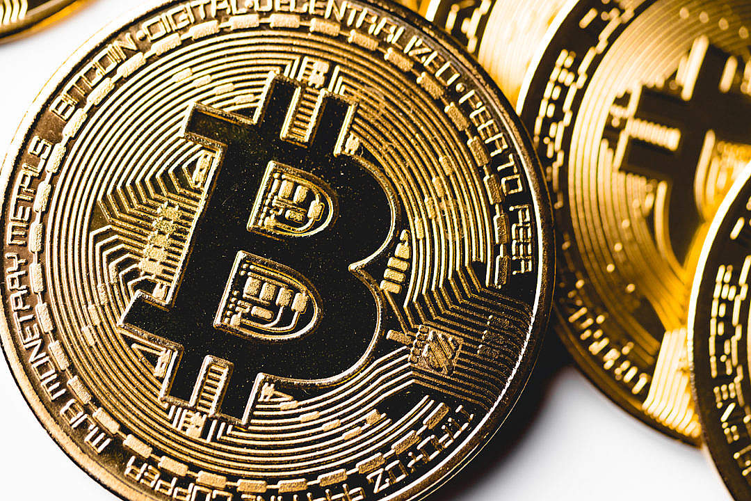 Download Golden Bitcoin Coin Close Up FREE Stock Photo