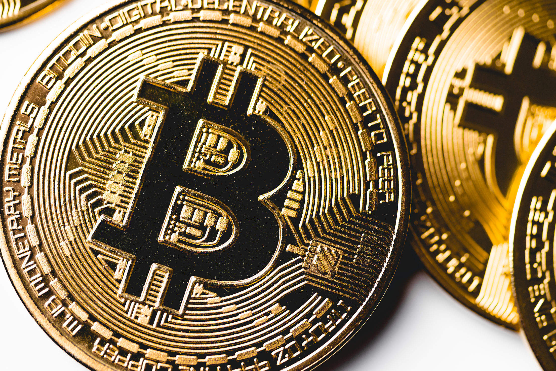 Golden Bitcoin Coin Close Up Free Stock Photo
