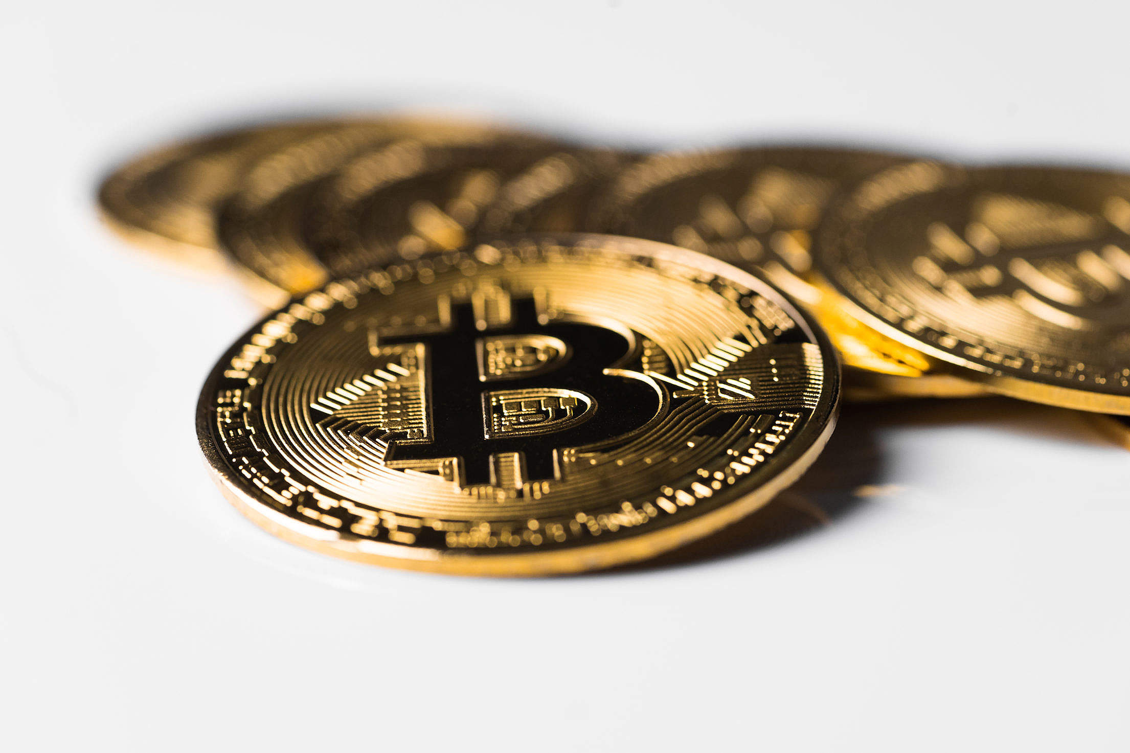Golden Bitcoin Isolated on The White Background Free Stock Photo