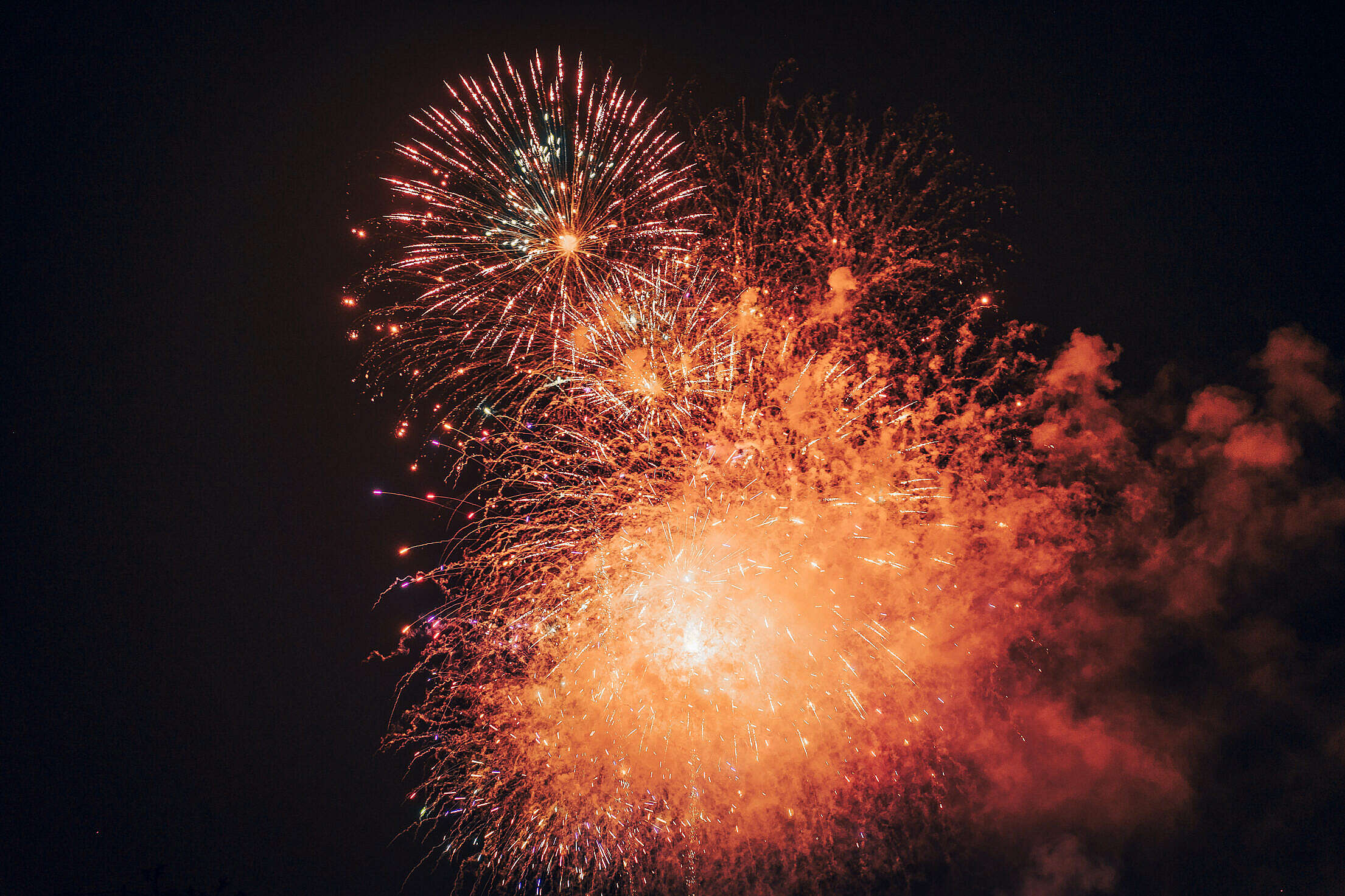 Golden Fireworks 4th of July Free Stock Photo