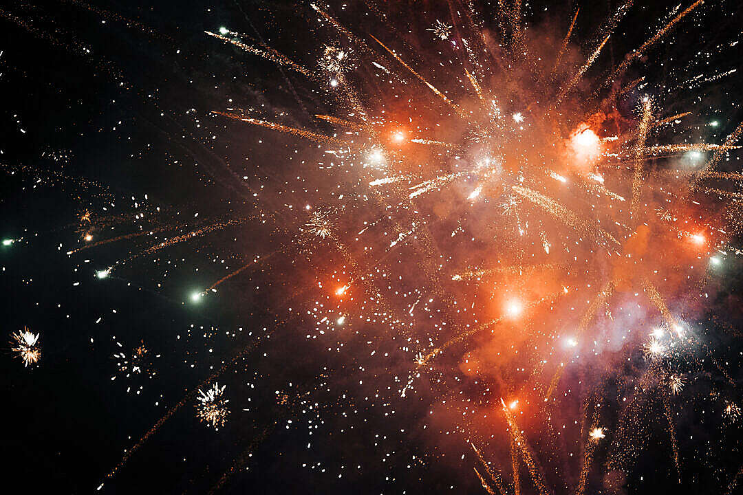 Download Golden Fireworks FREE Stock Photo