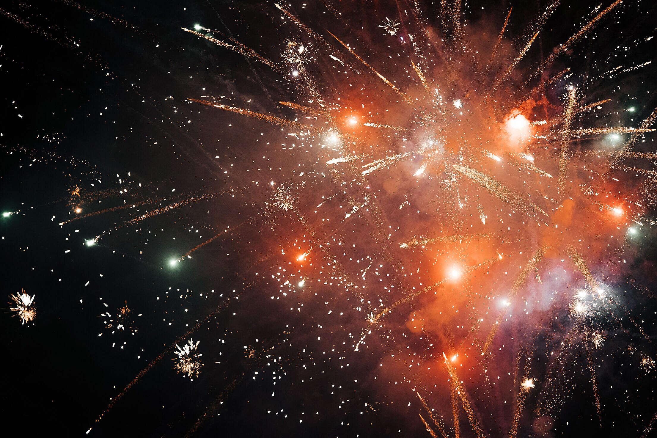 Golden Fireworks Free Stock Photo