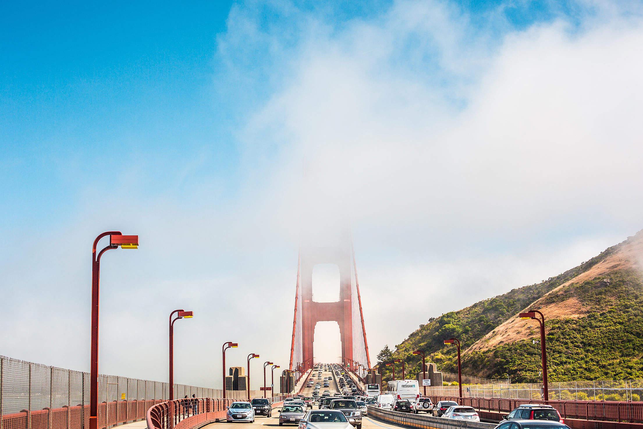Golden Gate Bridge Pillars Covered in Fog Free Stock Photo