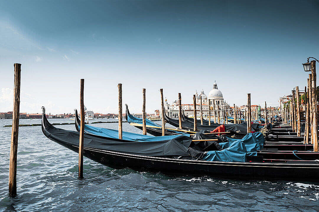 Download Gondola Boats in Venice, Italy FREE Stock Photo