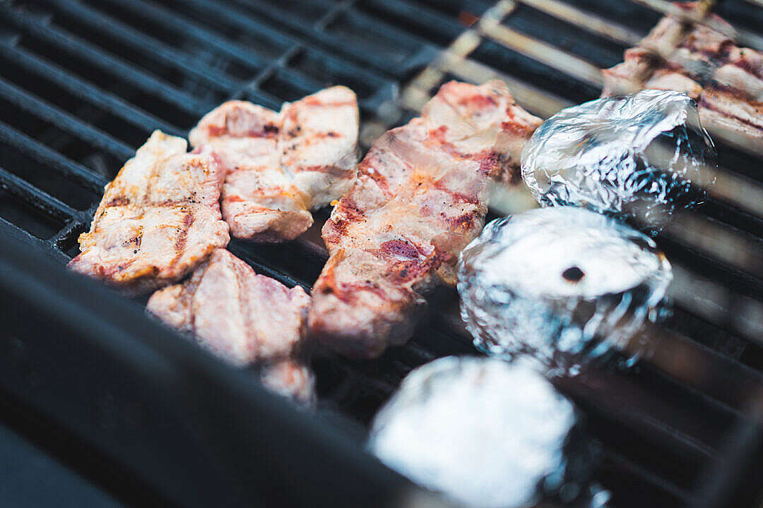 Download Grilled Meat on BBQ Garden Party FREE Stock Photo