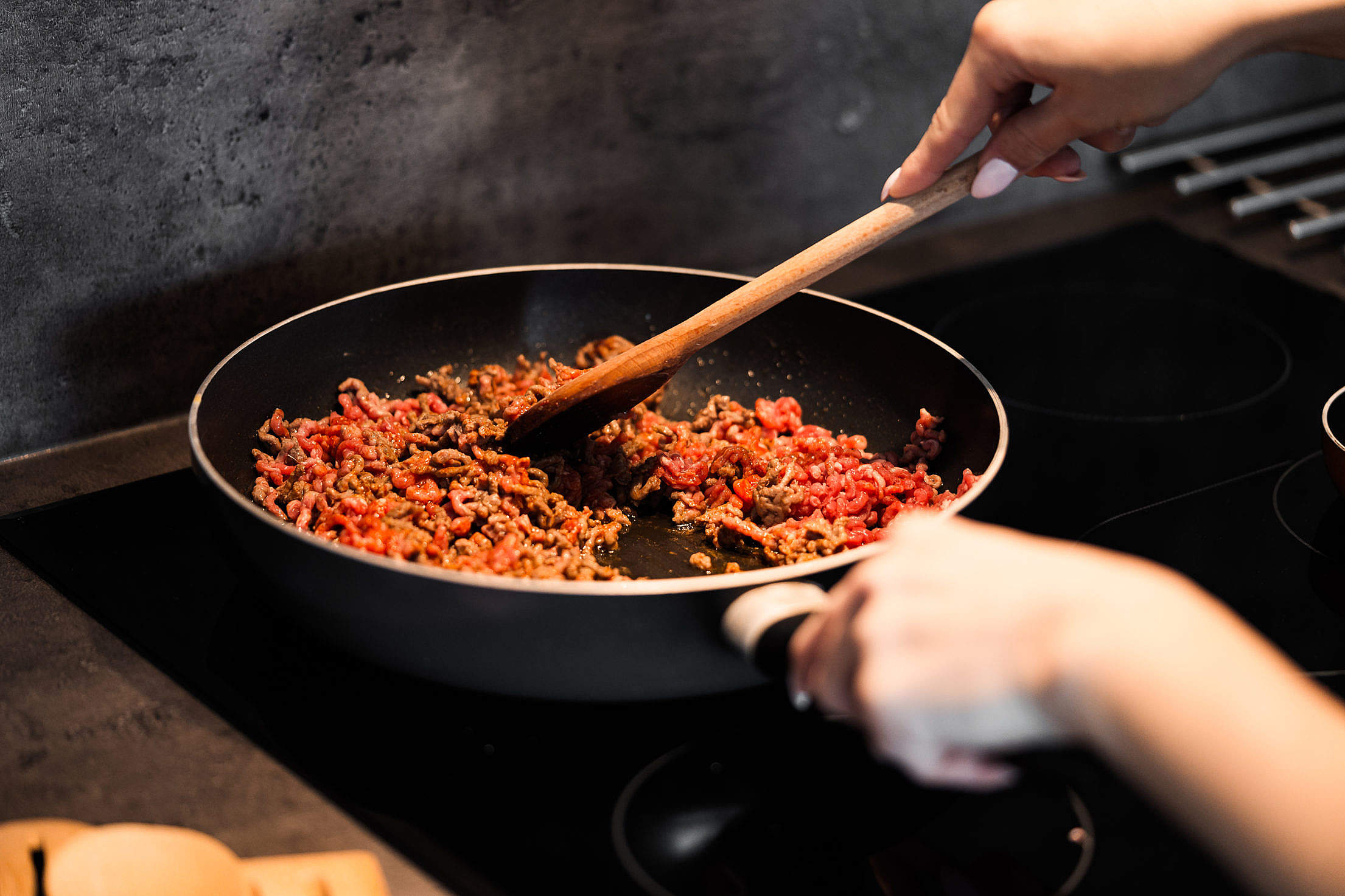 Ground Beef Meat in a Frying Pan Free Stock Photo