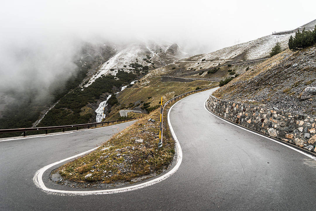 Download Hairpin Turn on Stelvio Pass Mountain Road FREE Stock Photo