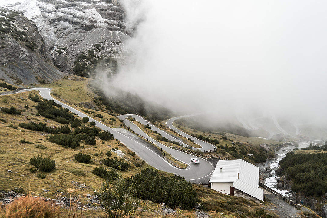 Download Hairpin Turns on Stelvio Pass Mountain Road in Italy FREE Stock Photo