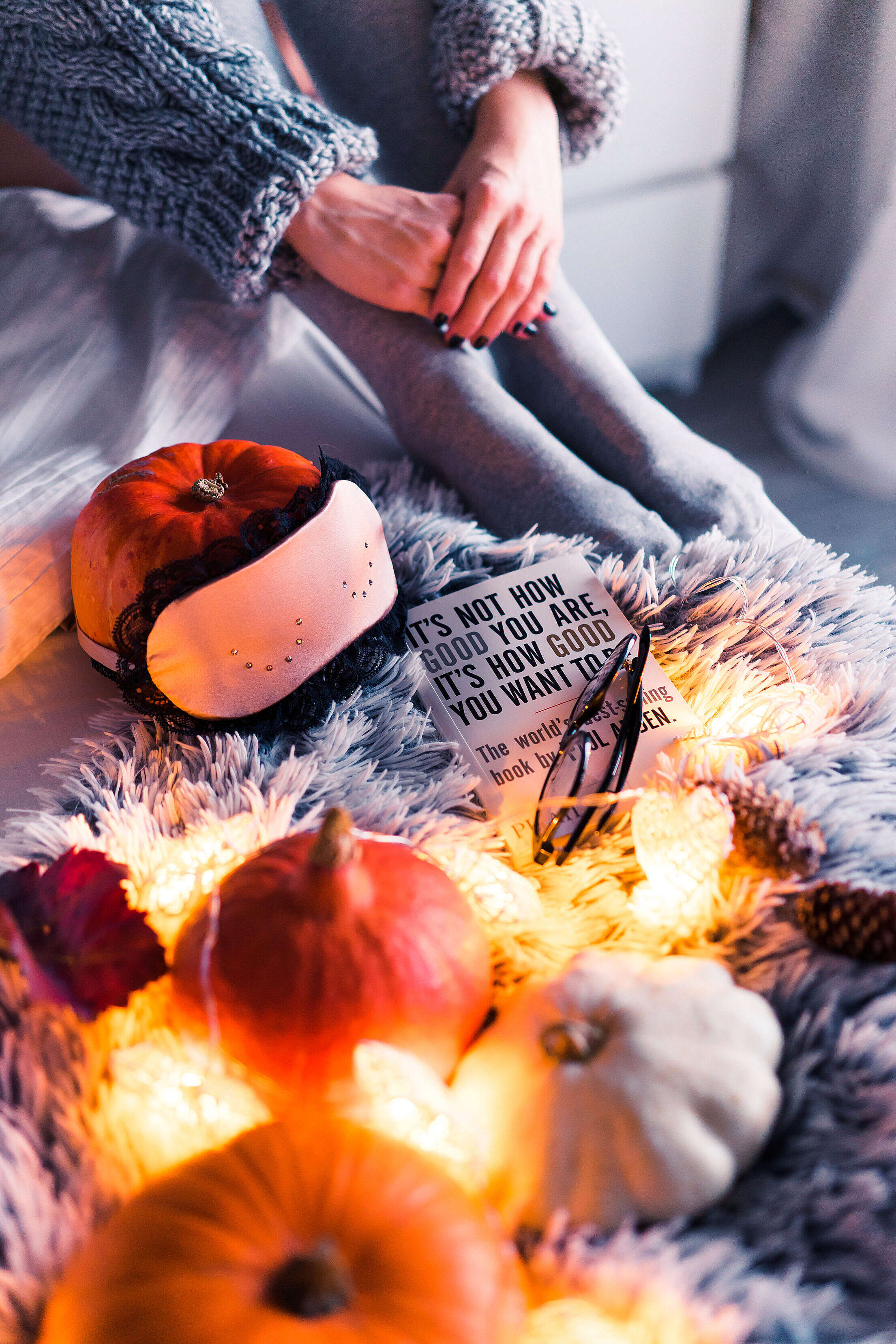 Halloween in Bed Free Stock Photo