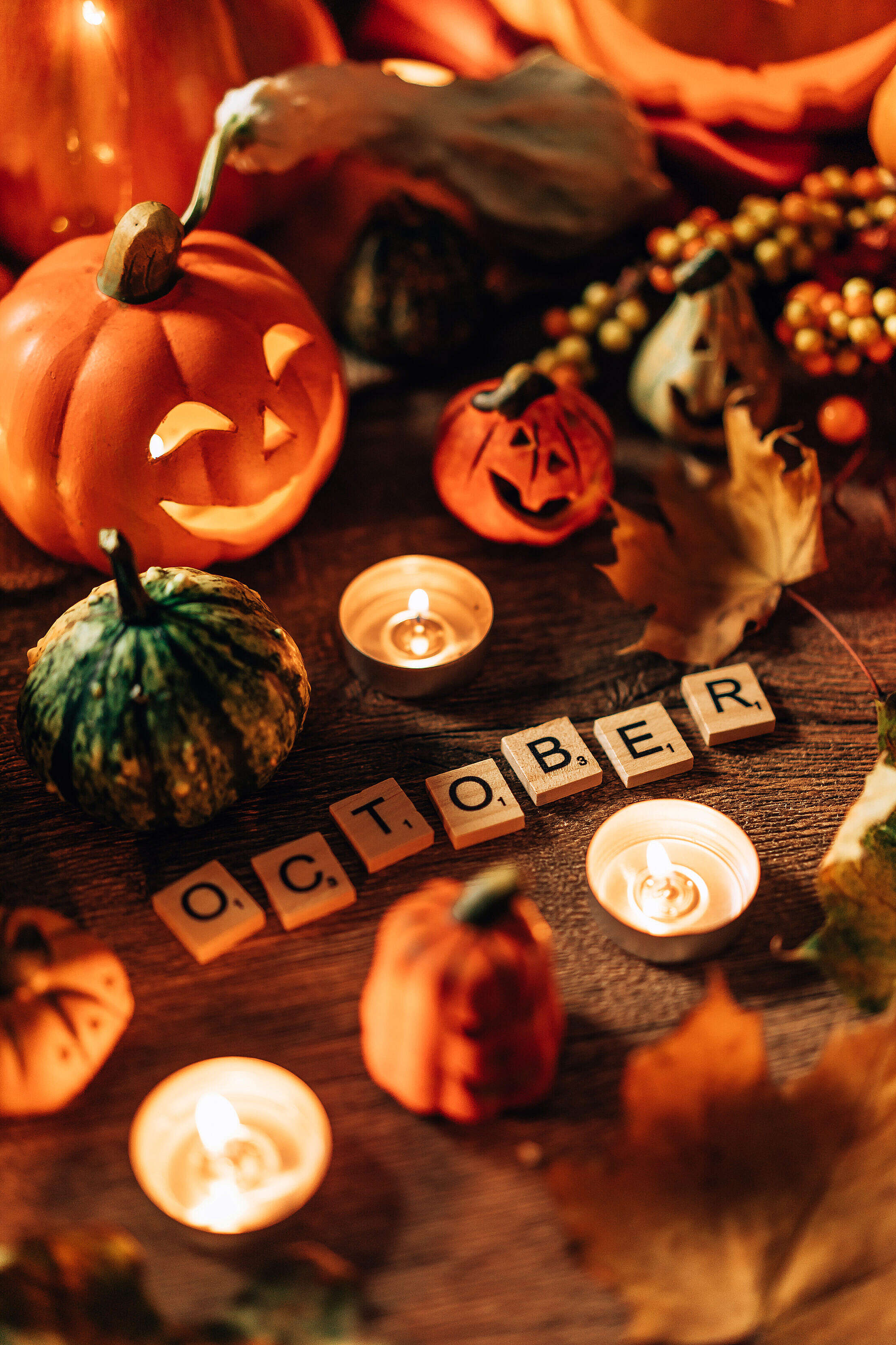 Halloween Still Life with October Scrabble Tiles Free Stock Photo