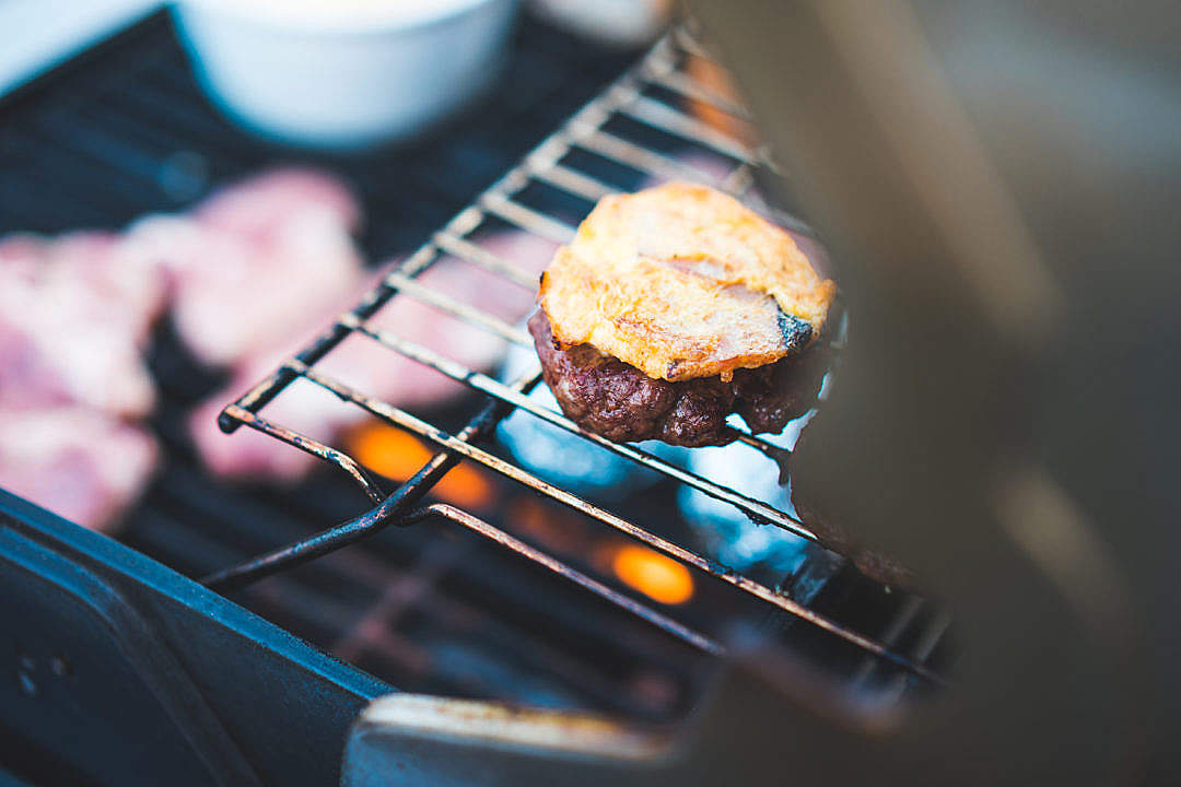 Download Hamburger Meat on the BBQ Grill FREE Stock Photo