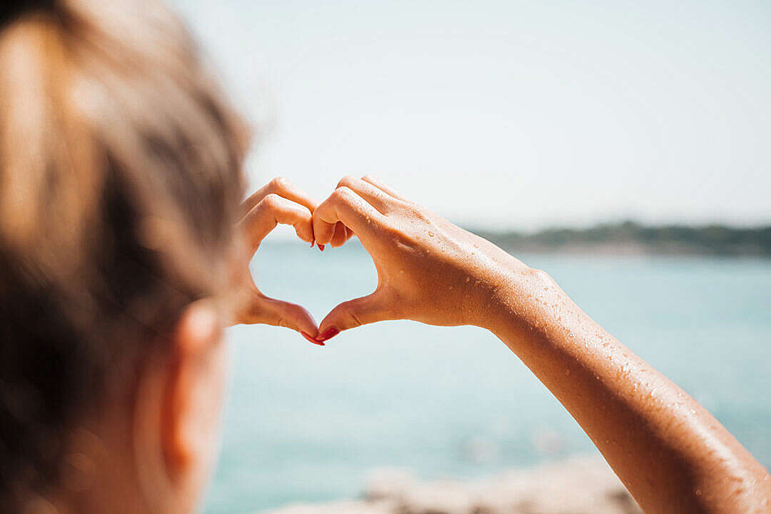 Download Hand Love Heart by the Sea FREE Stock Photo