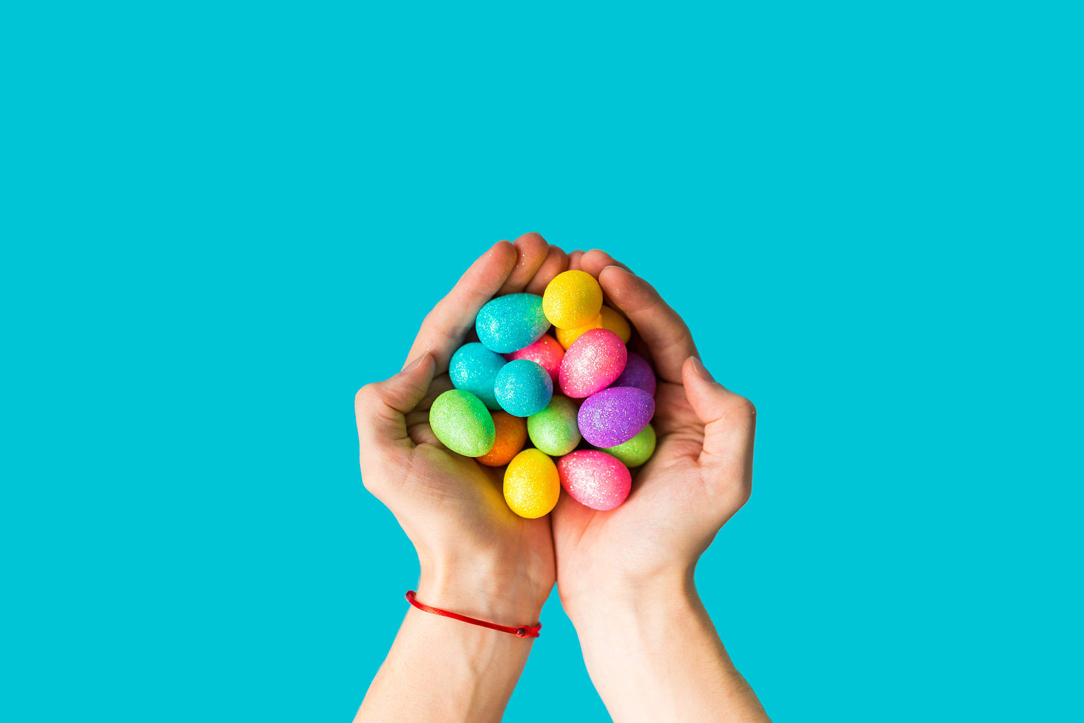 Handful of Glittering Easter Eggs Free Stock Photo