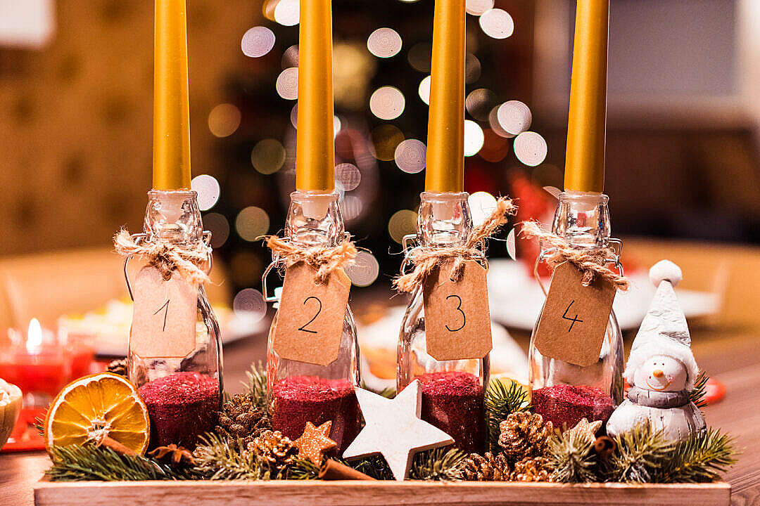 Download Handmade DIY Advent Candle FREE Stock Photo