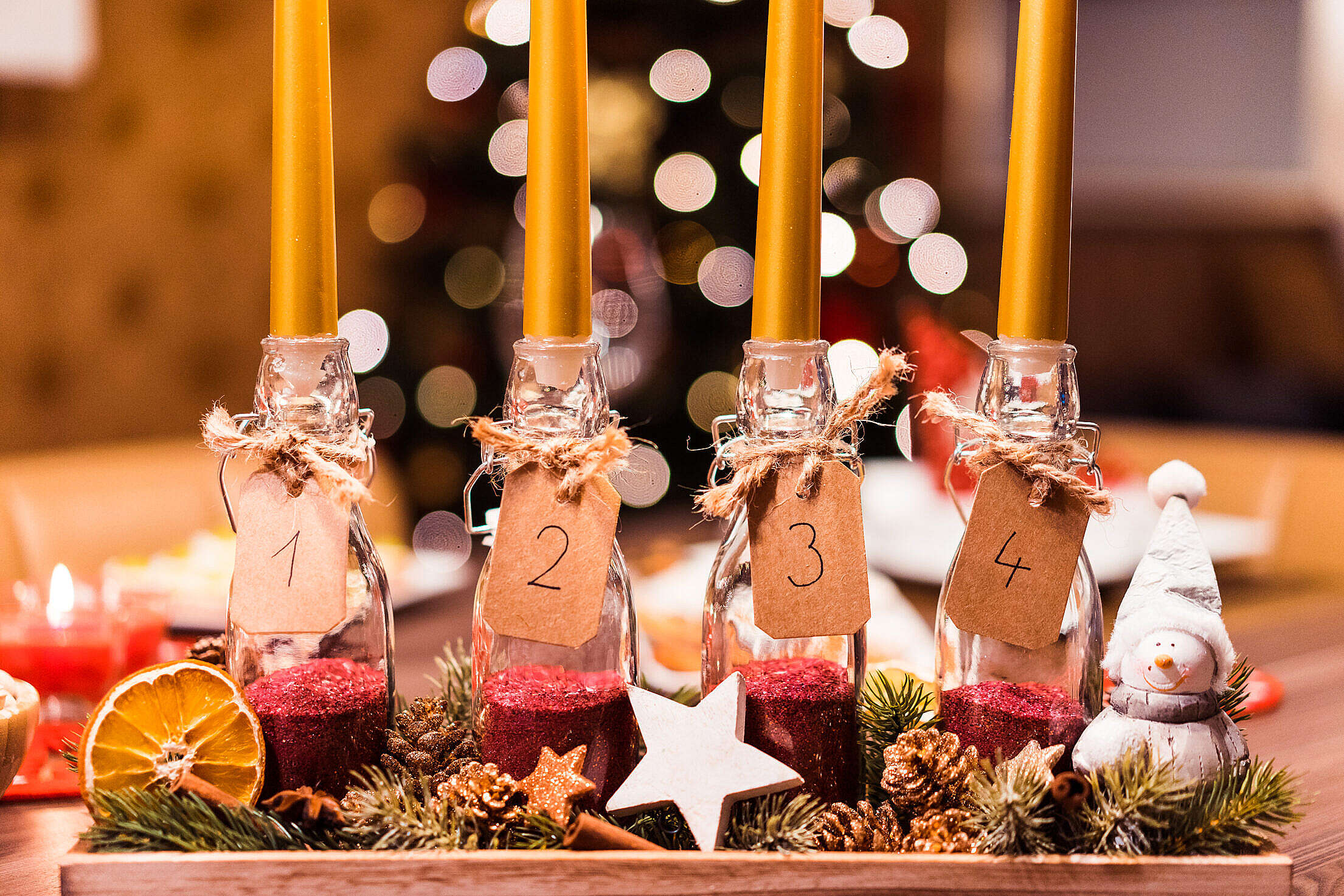 Handmade DIY Advent Candle Free Stock Photo