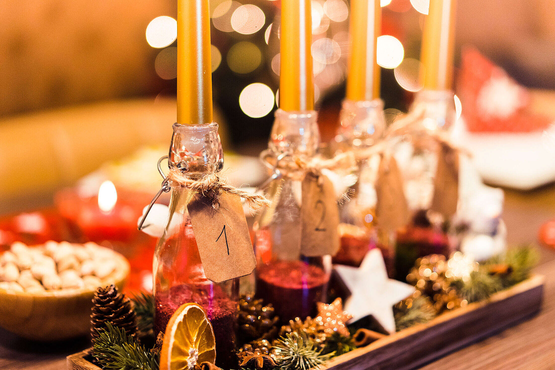 Handmade Do-It-Yourself Advent Candle #2 Free Stock Photo