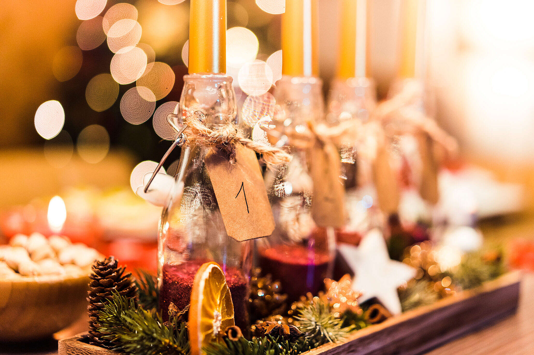 Handmade Do-It-Yourself Advent Candle Free Stock Photo