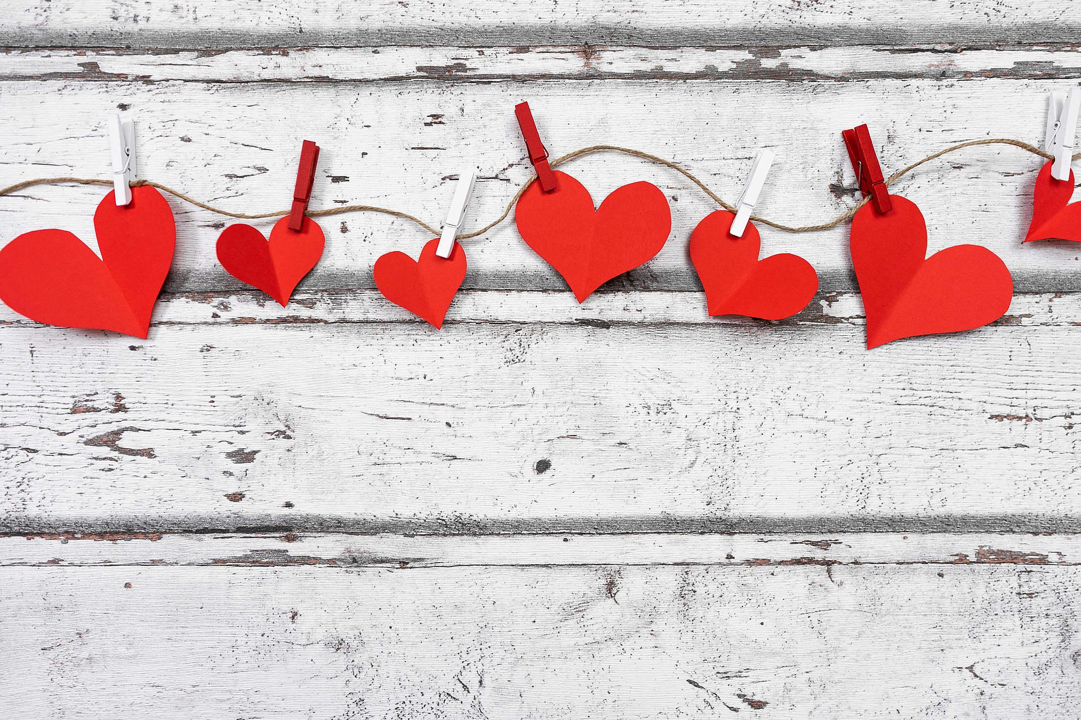 Hanging Valentine Hearts Free Stock Photo