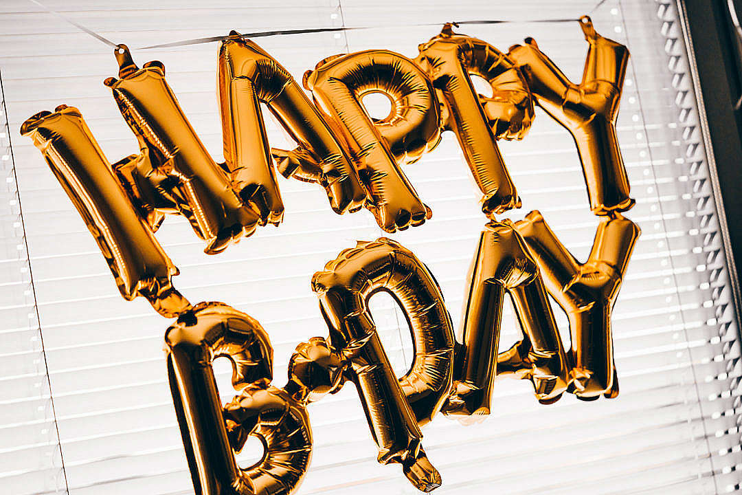 Download Happy Birthday Gold Balloon Banner FREE Stock Photo