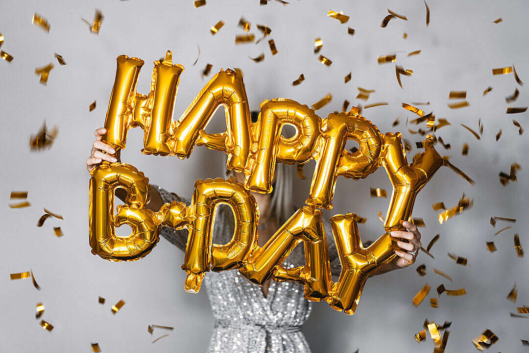 Download Happy Birthday Inflatable Balloons with Gold Confetti FREE Stock Photo