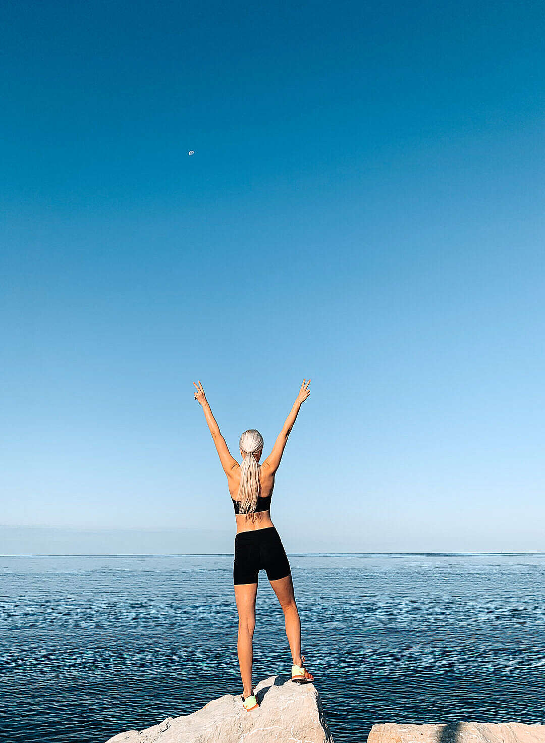 Download Happy Fitness Woman Celebrating Finished Workout FREE Stock Photo